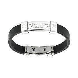Stainless Steel Tribal Maze ID Plate Rubber Bracelet (10 mm) - 7.25 in