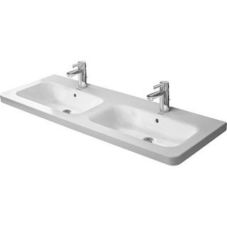 "Duravit 2338130000 DuraStyle Ceramic 51-1/8"" Double Basin Bathroom Sink for Vanity, Wall Mounted or Pedestal Installations with"