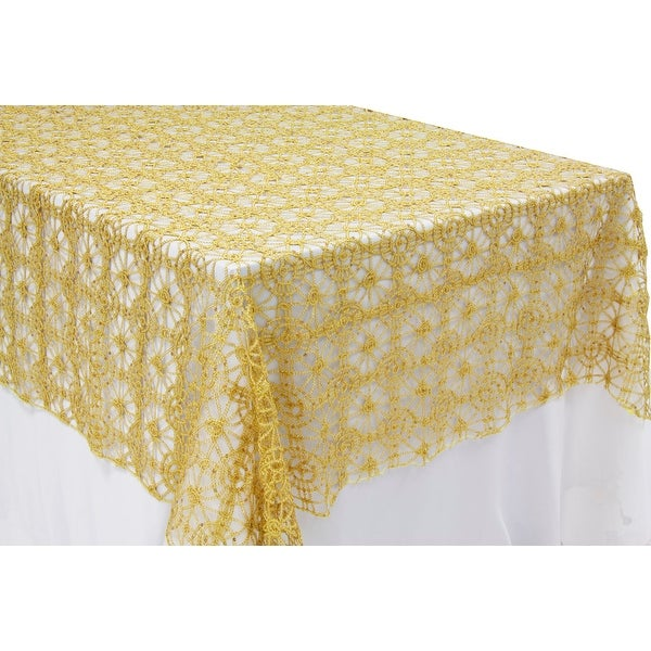 """Chemical Lace 60""""x120"""" Rectangular Table Topper/Overlay - Gold"""