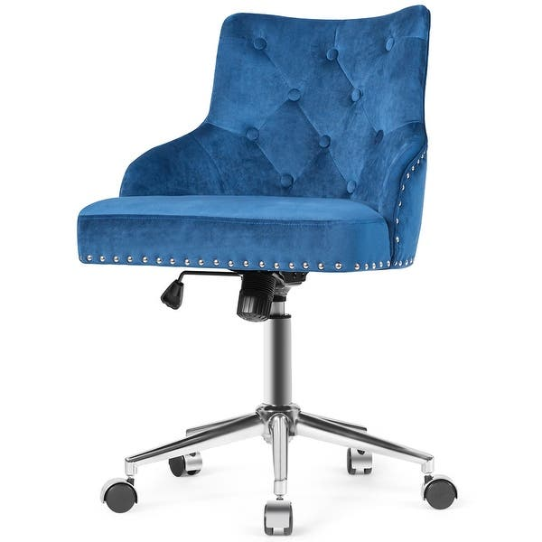 Computer Desk Fabric Chair Office Chair Adjustable Swivel Lift Cushioned Blue