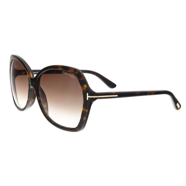 528f68d13285 Shop Tom Ford FT0328 S 52F CAROLA Havana Square Sunglasses - Free ...