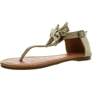 Yokids Amanda-15 Little Girls Flat Thong Sandals With Bow And Rhinestones