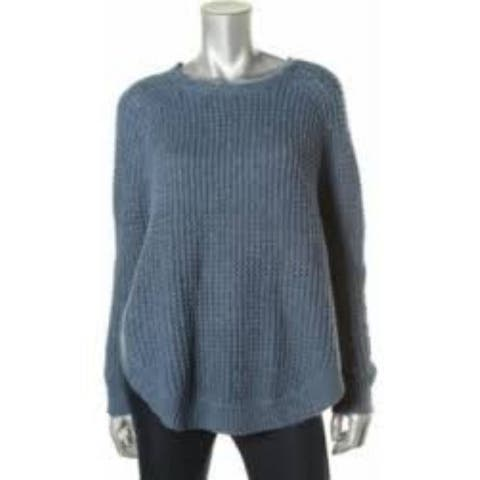 LRL Lauren Jeans Co. Women's Cable Knit Long Sleeves Poncho Sweater, Indigo, S