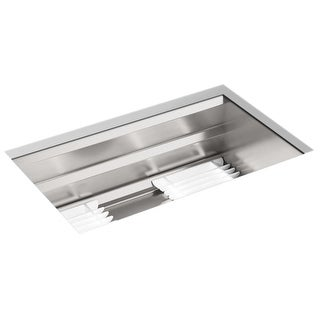 "Kohler K-23651  Prolific 29"" Undermount Stainless Steel Single Basin Kitchen Sink with SilentShield Technology, Bamboo Cutting"