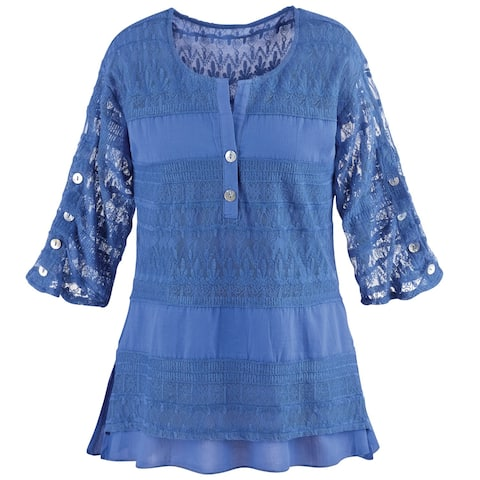 50366b99f4d4 Ashwood/Cotton Connection Women's Tunic Top - Textured Lacey Tiers Blouse