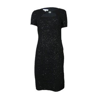 London Times Women's Embellished Keyhole Glittered Stretch Dress