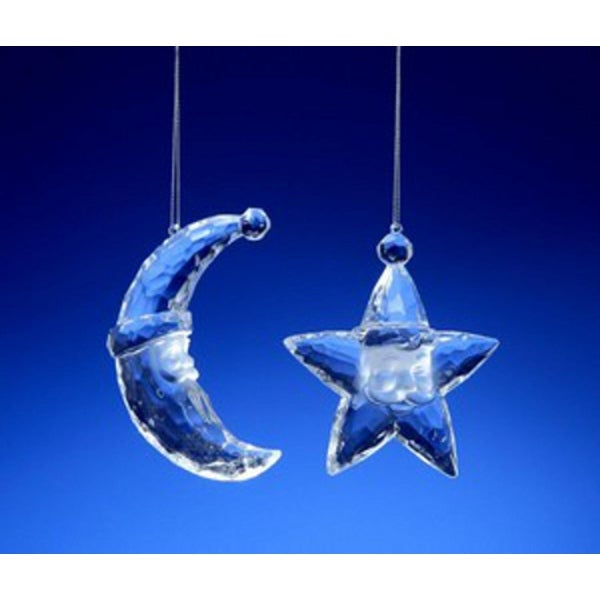Club Pack of 16 Icy Crystal Santa Face Star and Moon Christmas Ornaments 3""