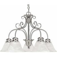 Volume Lighting V2145 Troy 5 Light 1 Tier Chandelier with Alabaster Glass - Brushed nickel