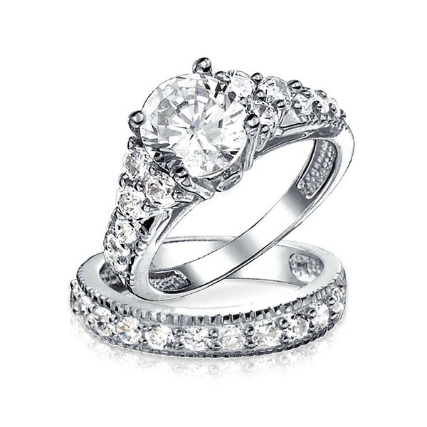 3CT Brilliant Solitaire Cubic Zirconia 925 Sterling Silver AAA CZ Anniversary Wedding Engagement Ring Pave Band Set. Opens flyout.