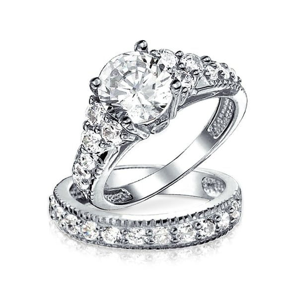 b5971f362b793d ... Zirconia Rings. Brilliant Solitare Pave Cubic Zirconia Colorless 925  Sterling Silver Art Deco Style 4 Prong CZ Wedding