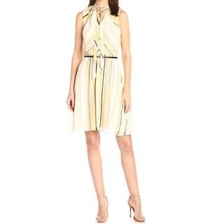 Calvin Klein Yellow Womens Size 8 Chiffon Tie-Neck A-Line Dress