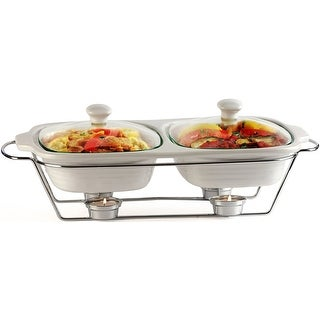 Palais Dinnerware Buffet Double Covered Casserole with Chrome Stand 1 Quart Each, 2 Quart Total