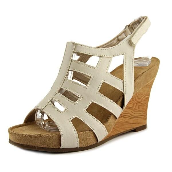 Aerosoles Mint Plush Women Open Toe Synthetic Ivory Wedge Sandal