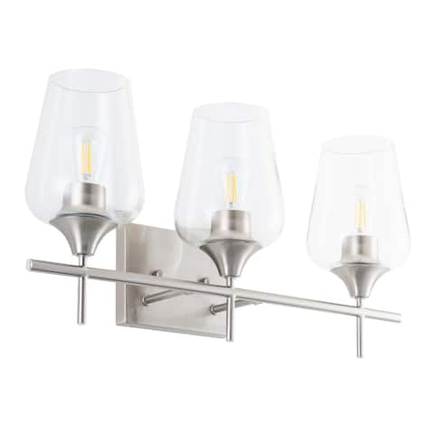 CO-Z Wall Sconce Vanity Lights with Glass Shade 2-Light/3-Light - Brushed Nickel - Brushed Nickel