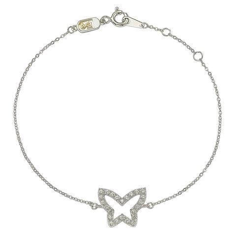 Suzy Levian 14K White Gold & .30 cttw Diamond Butterfly Solitaire Bracelet