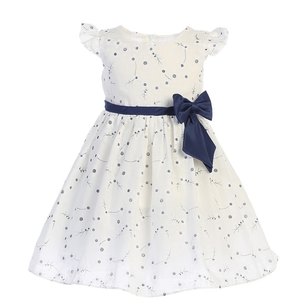 Baby Girls White Navy Ribbon Bow Cotton Printed Flower Girl Dress