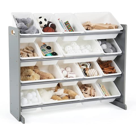 Supersized Wood Toy Storage Organizer with 16 Plastic Bins