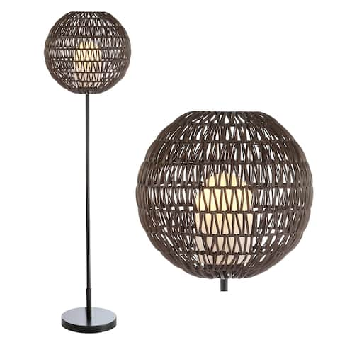 """Bea 61"""" Outdoor Woven Globe LED Floor Lamp, Coffee/Black by JONATHAN Y - 61"""" H x 16"""" W x 16"""" D"""