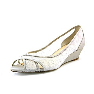 Nina Rigby Women Open Toe Canvas Silver Wedge Heel