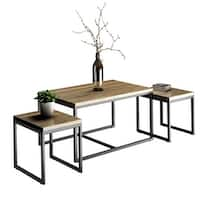 Costway 3 Piece Nesting Coffee & End Table Set Wood Modern Living Room Furniture Decor - as pic
