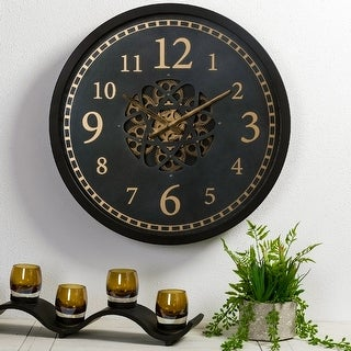 """Link to Glitzhome 22.8""""D Morden Metal Wall Clock with Moving Gears Similar Items in Decorative Accessories"""