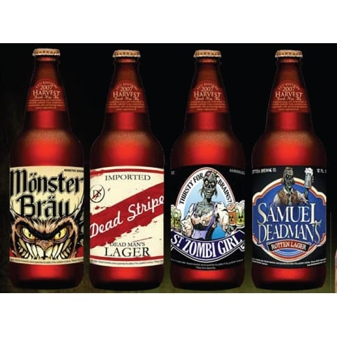 Slap Sticker Halloween Beer Labels 4 Pack Party Prop