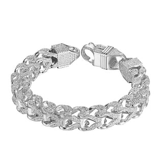 "Iced Out Franco Link Bracelet 11mm Thick Mens Unique 8.5"" Lab Diamonds"
