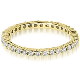 Petite 0.60 ct.tw 14K Yellow Gold Round Shared Prong Stackable Diamond Eternity Ring