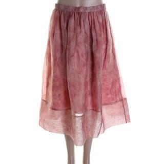 Whistles Womens Vienna Silk Flamingo A-Line Skirt - 2