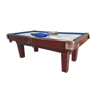 8' Brown and Blue Slate Billiard and Pool Game Table