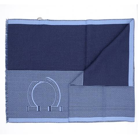 Salvatore Ferragamo Mens Blue Striped Gancini Scarf