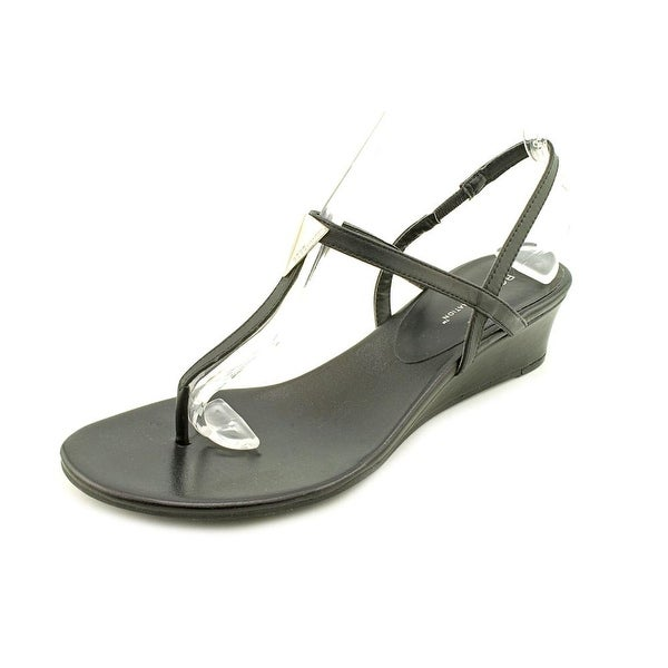 BCBGeneration Jocee Women Open Toe Leather Black Wedge Sandal