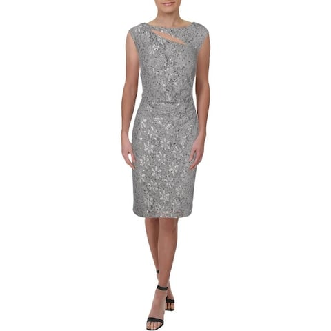 Connected Apparel Womens Cocktail Dress Cut-Out Sequined