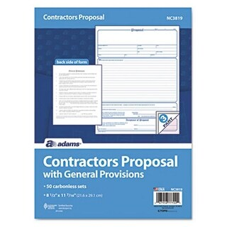 Contractor Proposal Form 3-Part Carbonless 8 .5 x 11 50 Forms