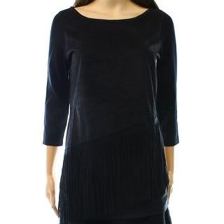 INC NEW Black Women's Size Small S Faux-Sued Fringe Sweater Blouse