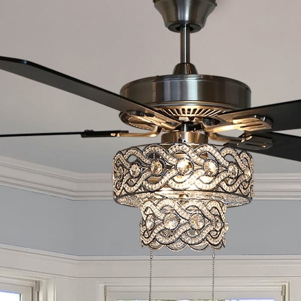 """Copper Grove Bailadores 52-in. Beaded Braid LED Ceiling Fan - 52""""L x 52""""W x 21""""H. Opens flyout."""