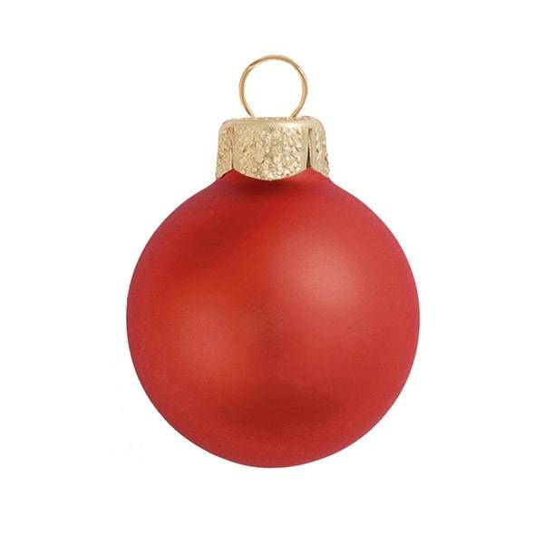 "40ct Matte Fire Orange Glass Ball Christmas Ornaments 1.25"" (30mm)"