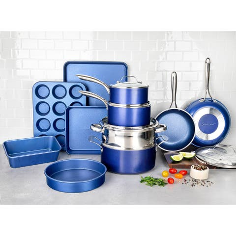 Granitestone Blue Nonstick 20 Piece Cookware and Bakeware Set