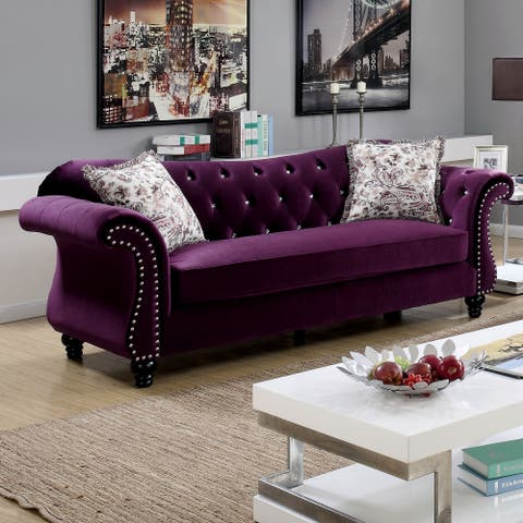 Furniture of America Tese Traditional Fabric Nailhead Sofa