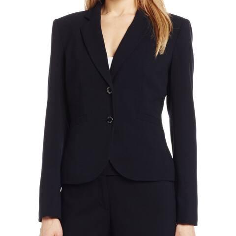 Calvin Klein Blue Womens Size 12 Two-Button Notch-Collar Blazer