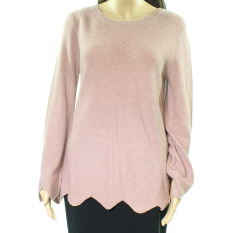Michael Stars Womens Sweater Pink Size Large L Scalloped Hem Ribbed Trim