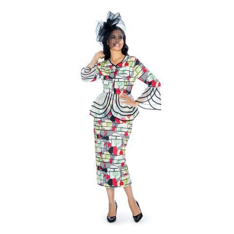 Giovanna Signature 2pc Floral Print Peachskin Suit w/ Organza Trim