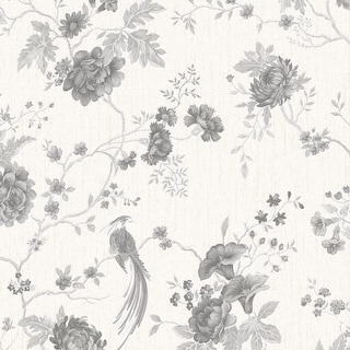 Graham and Brown 32-956 56 Square Foot - Exotica White and Silver by Julien MacDonald - Non-Pasted Non-Woven Wallpaper