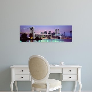 Easy Art Prints Panoramic Image 'Brooklyn Bridge, World Trade Center, Wall Street, Manhattan, New York City' Canvas Art