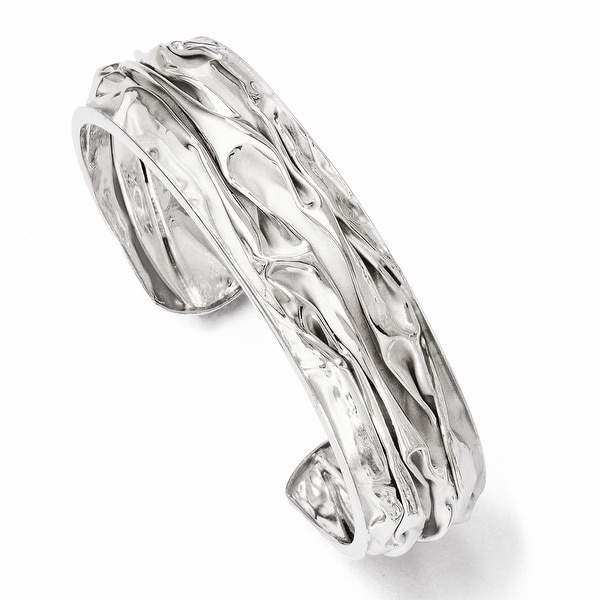 Sterling Silver Rhodium-plated Small Domed Scrunch Bangle