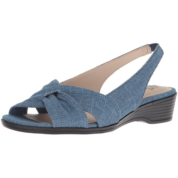 LifeStride Womens Mimosa 2 Fabric Open Toe Special Occasion Slingback Sandals