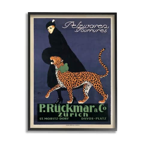 Stupell Industries Vintage Women's Fashion Campaign with Leopard Framed Wall Art