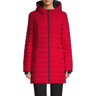 HFX Halifax Scuba Stretch Active Hooded Puffer Coat, Red/Charcoal