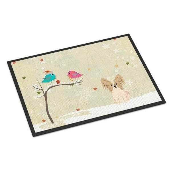 Carolines Treasures BB2549MAT Christmas Presents Between Friends Papillon Sable White Indoor or Outdoor Mat 18 x 0.25 x 27 in.