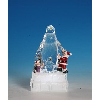 Pack of 2 Icy Crystal Decorative Illuminated Christmas Penguin Ice Sculptures 8""